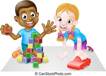 ragazzo, blocchi, automobile, cartone animato, ragazza, gioco