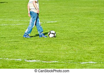 ragazzo, calcio, gioco