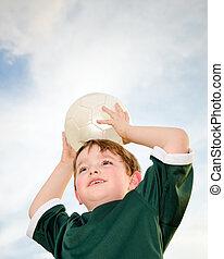 ragazzo, calcio, giovane, gioco