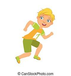ragazzo, camicia, colorito, carattere, uno, numero, giallo, correndo