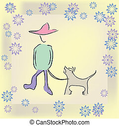 ragazzo, camminando cane