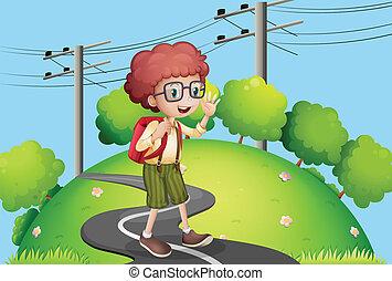 ragazzo, camminare, elettrico, piantoni, giovane, strada,...