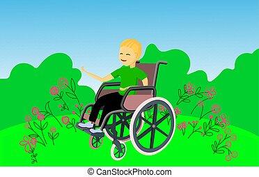 ragazzo, camping., sorrisi, invalido, sedere, wheelchair.