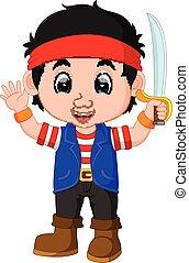 ragazzo, capretto, cartone animato, pirata