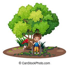 ragazzo, carrozzella, albero