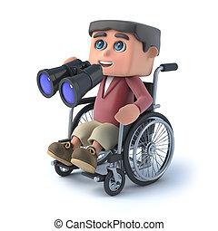 ragazzo, carrozzella, binoculare, 3d