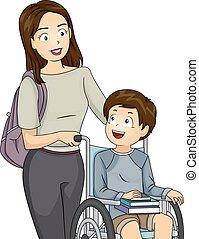 ragazzo, carrozzella, libri, mamma, capretto