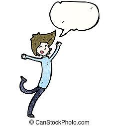 ragazzo, cartone animato, ballo