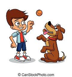 ragazzo, cartone animato, cane