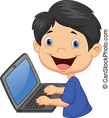 ragazzo, cartone animato, laptop