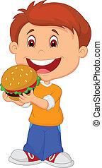 ragazzo, cartone animato, mangiare, hamburger