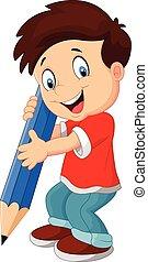 ragazzo, cartone animato, matita
