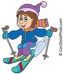 ragazzo, cartone animato, sciare