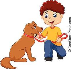 ragazzo, cartone animato, suo, isolato, cane