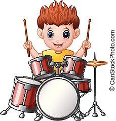 ragazzo, cartone animato, tamburi, gioco
