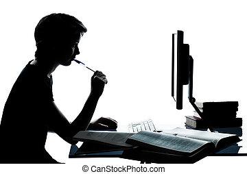 ragazzo, caucasico, taglio, silhouette, ragazza, calcolare, studiare, laptop, isolato, giovane, computer, studio, adolescente, fondo, bianco, uno, o, fuori