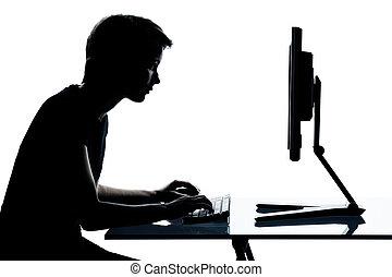 ragazzo, caucasico, taglio, silhouette, ragazza, giovane, isolato, studio, adolescente, fondo, bianco, uno, o, fuori