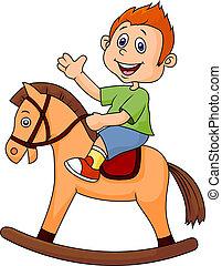 ragazzo, cavallo, giocattolo, cartone animato, sentiero per cavalcate