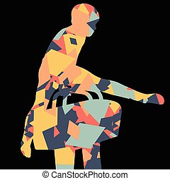 ragazzo, cavallo, silhouette, astratto, illustrazione, fondo, attivo, sport, pommel, bambini, mosaico