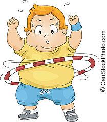 ragazzo, cerchio, sovrappeso, hula, usando