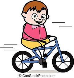 ragazzo, ciclismo, -, grasso, vettore, illustrazione, cartone animato, adolescente