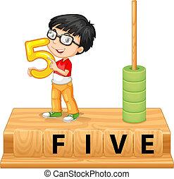 ragazzo, cinque, numero, presa a terra