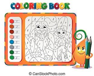 ragazzo, circa, coloritura, cane, libro, amicizia