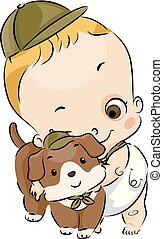 ragazzo, coccolare, cane, illustrazione, esploratore, bambino primi passi