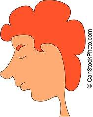 ragazzo, colorare, illustrazione, capelli, vettore, o, rosso