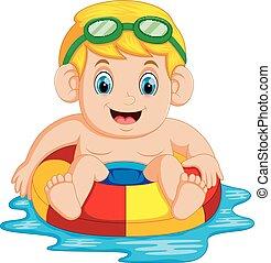 ragazzo, colorito, anello gonfiabile, giocando piscina, nuoto