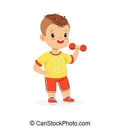 ragazzo, colorito, carattere, esercitarsi, illustrazione, sport, vettore, dumbbell, capretto