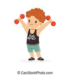ragazzo, colorito, riccio, carattere, esercitarsi, illustrazione, sport, vettore, dumbbells, capretto