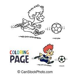ragazzo, coloritura, football, pagina, cartone animato, gioco