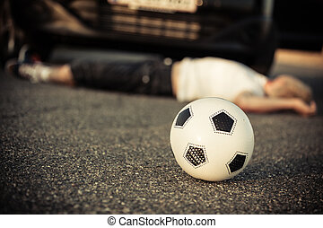 ragazzo, colpo, automobile, giovane, calcio, gioco