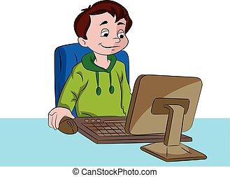 ragazzo, computer usa, illustrazione, desktop