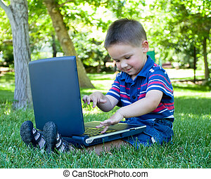 ragazzo, con, laptop