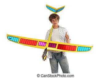 ragazzo, con, un, aeroplano