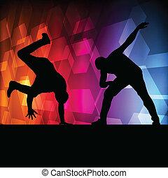 ragazzo, concetto, silhouette, ballo, vettore, fondo