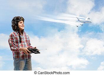 ragazzo, conveniente, fare un sogno, pilota