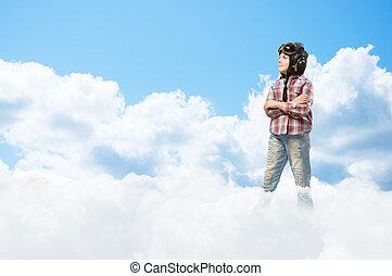 ragazzo, conveniente, sognare, pilota, casco
