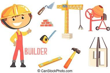 ragazzo, costruttore, oggetti, professione, lavoratore, illustrazione, bambini, relativo, professionale, costruzione, futuro, sogno, occupazione
