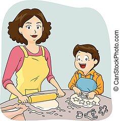 ragazzo, cottura, mamma, capretto