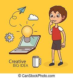 ragazzo, creativo, idea, grande, icone