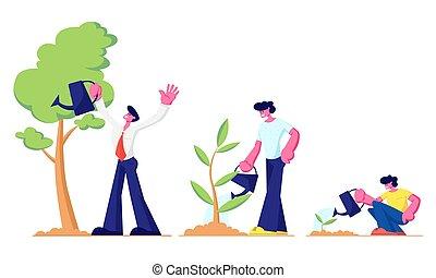 ragazzo, crescita, garden., metafora, poco, ciclo, irrigazione, giovane, cartone animato, adolescente, bambino, pianta, appartamento, vita, illustrazione, adulto, linea, seme, crescere, uomo, piante, albero, grande, vettore, tempo, palcoscenici