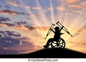 ragazzo, crutches, carrozzella, seduta, tramonto, felice