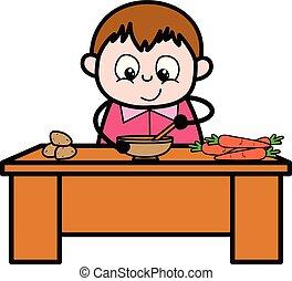 ragazzo cucinando, -, grasso, vettore, illustrazione, cartone animato, adolescente