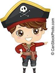 ragazzo, destra, punto, illustrazione, costume, pirata, capretto