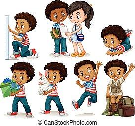 ragazzo, differente, americano africano, attività