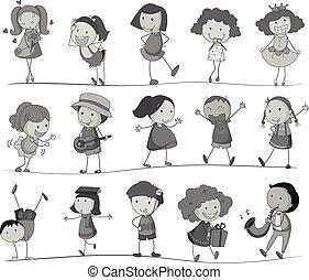 ragazzo, differente, ragazza, attività