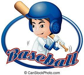 ragazzo, disegno, baseball, gioco, etichetta